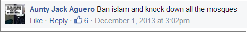Jackie Garnett ban Islam Facebook post