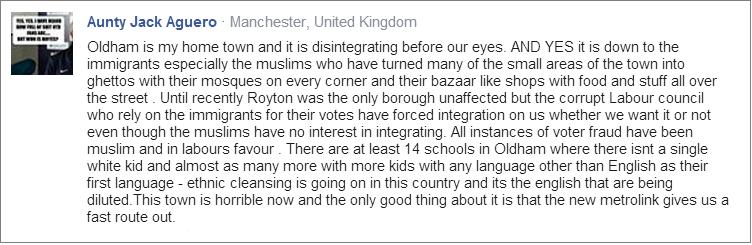 Jackie Garnett ethnic cleansing Facebook post