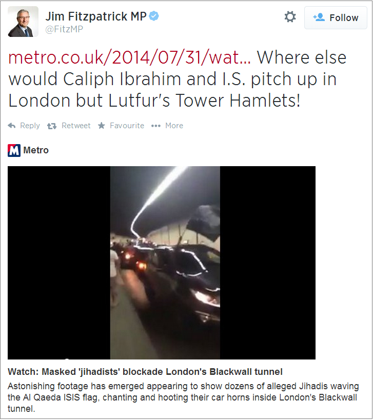 Jim Fitzpatrick ISIS and Lutfur tweet
