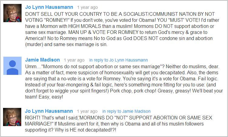 Jo Lynn Haussmann YouTube comments