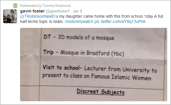 Lennon retweets objection to Islam lesson