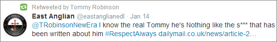 Lennon retweets support from East Anglian EDL