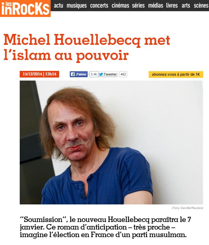 Les Inrocks Houellebecq met l'islam au pouvoir