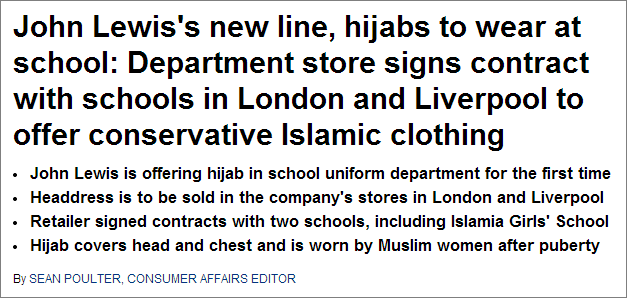 Mail John Lewis hijab report