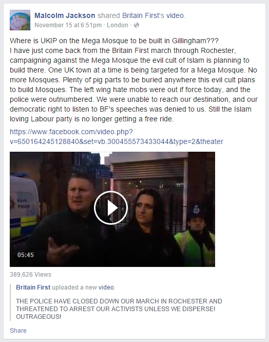 Malcolm Jackson calls for desecration of mosques