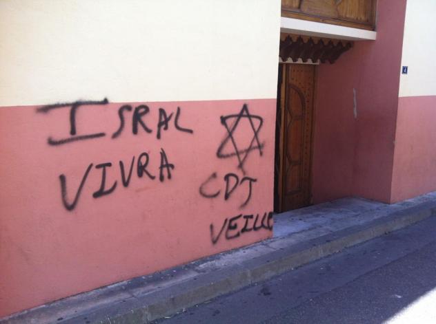 Marseille mosque JDL graffiti