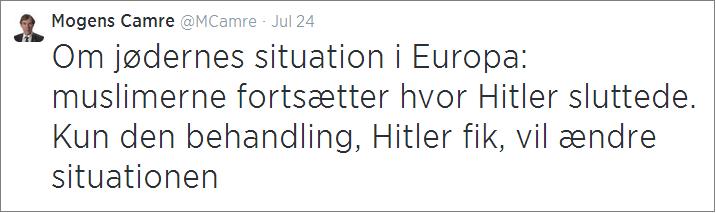 Mogens Camre Hitler tweet