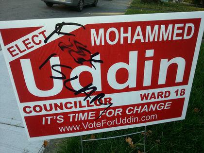 Mohammed Uddin campaign sign defaced