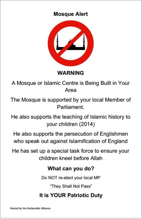 Mosque Alert leaflet