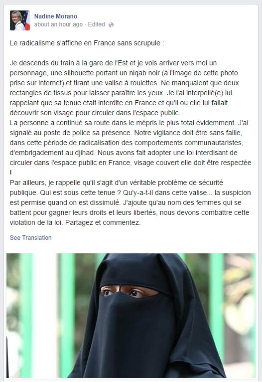 Nadine Morano Facebook post