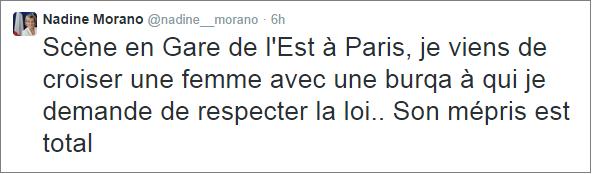 Nadine Morano burqa tweet