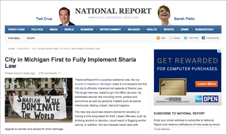 National Report Dearborn hoax