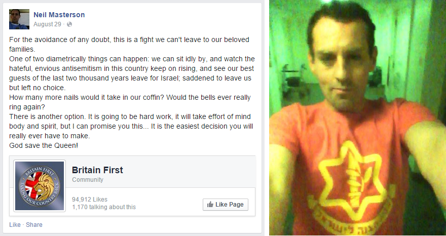 Neil Masterson backs Britain First and IDF