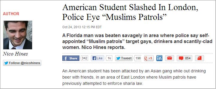 Nico Hines 'Muslims Patrols' article