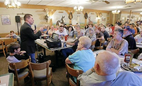 Rep. John Bennett addresses Sallisaw Republican meeting