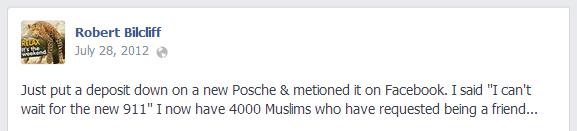Robert Bilcliff anti-Muslim Facebook post