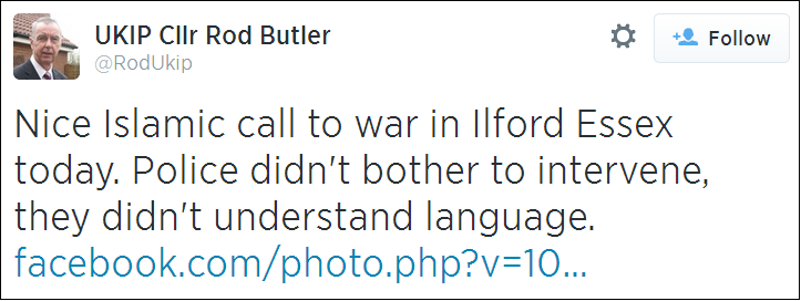Rod Butler Islamic call to war tweet