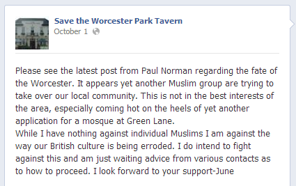 Save the Worcester Park Tavern Facebook post