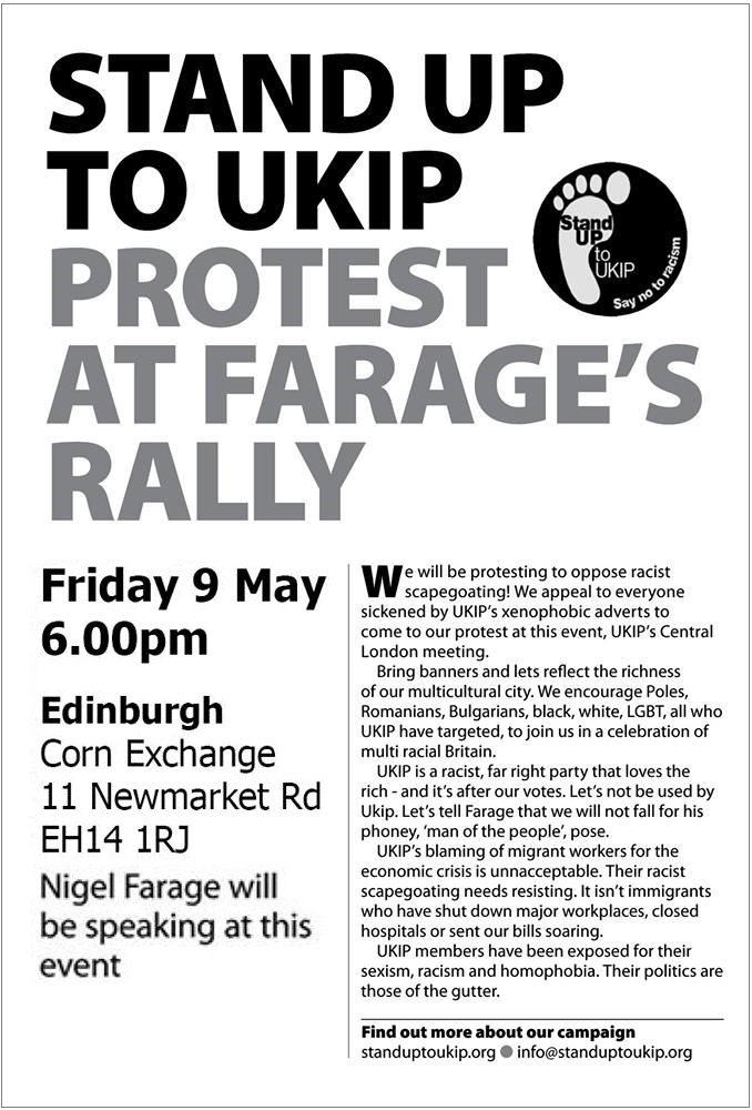 Stand Up to UKIP protest in Edinburgh