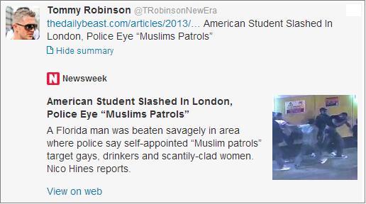 Stephen Lennon Daily Beast Muslim patrols tweet