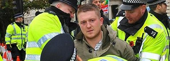 Stephen Lennon with police