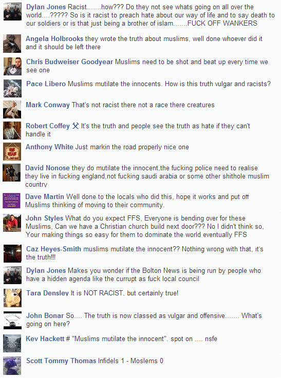 Stop the Astley Bridge Mosque Bolton Ironman graffiti comments