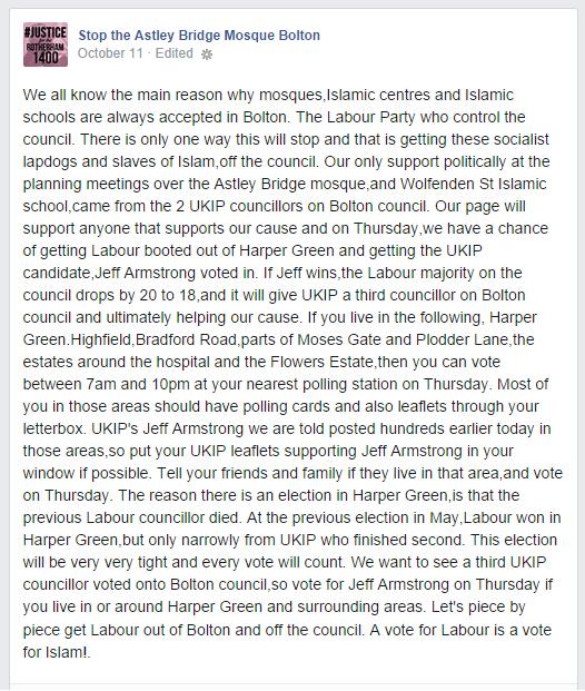 Stop the Astley Bridge Mosque Bolton backs UKIP