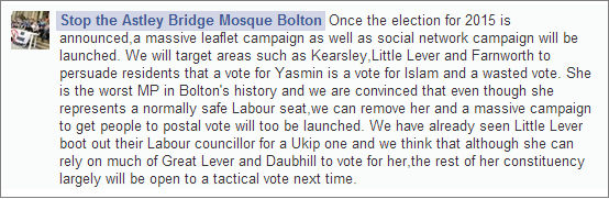 Stop the Astley Bridge Mosque Bolton on challenging Yasmin Qureshi