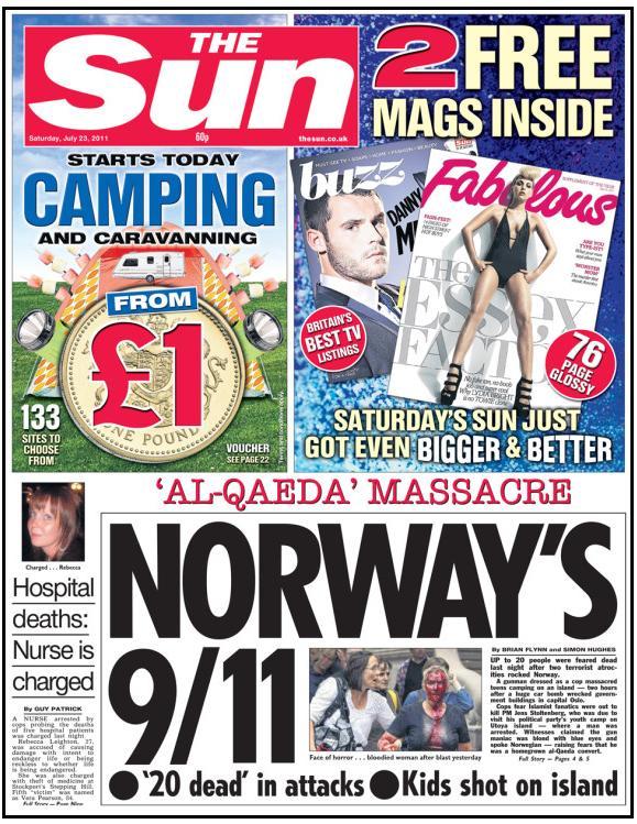 Sun Norway's 9-11 headline