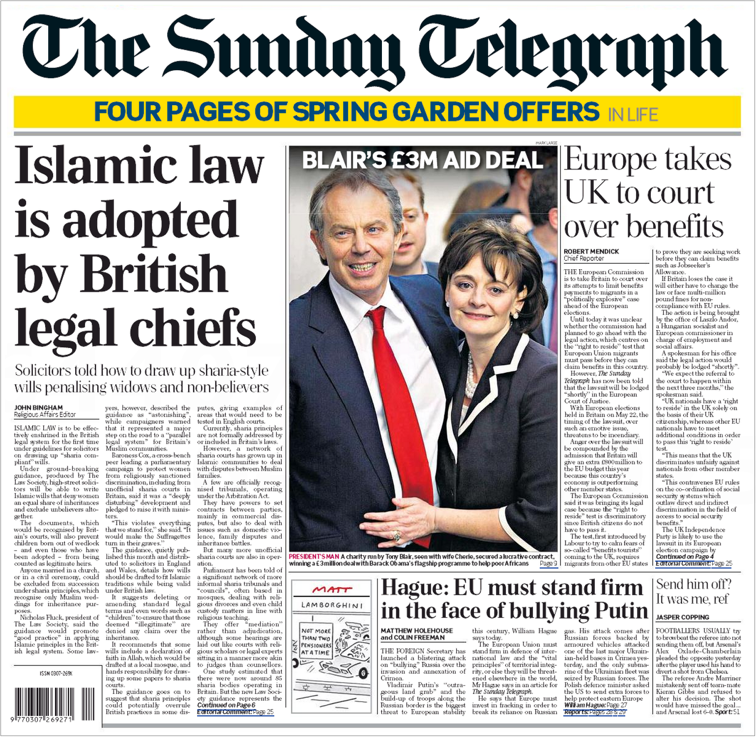 Sunday Telegraph Islamic law front page