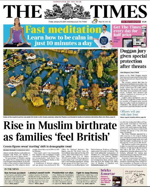 Times Muslim birthrate headline