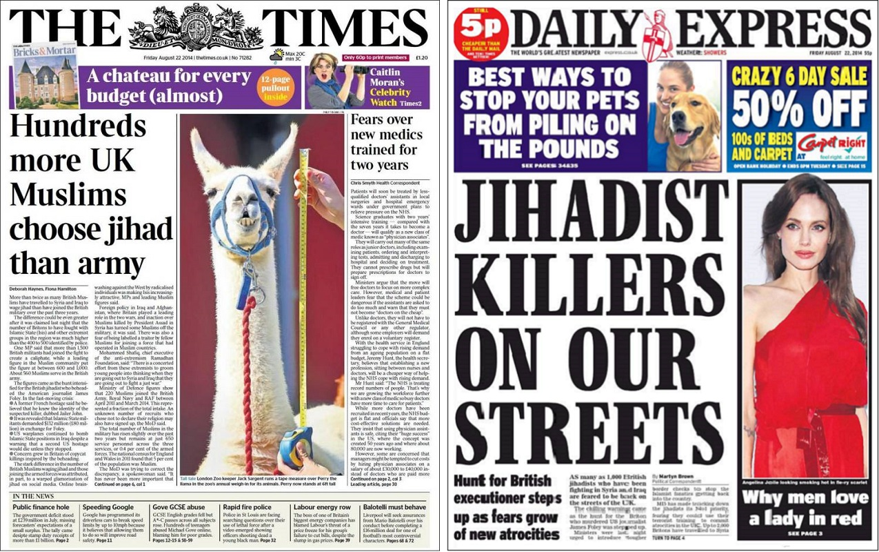 Times and Express front pages