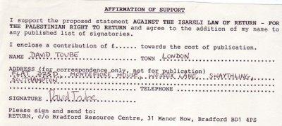 Toube's Return pledge