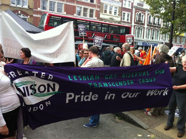UNISON LGBT banner on Tower Hamlets demo
