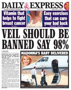 Veil Should Be Banned (say Express readers)