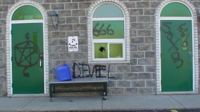 Waterloo mosque graffiti