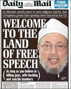 Welcome Qaradawi front page