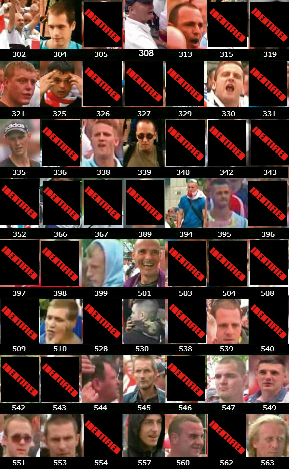 West Midlands Police EDL Birmingham protest wanted list