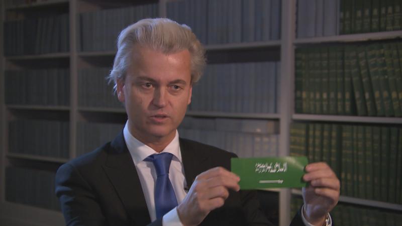 Wilders with anti-Islam sticker